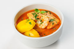 Fish soup with salmon, shrimps and potato Stock Images