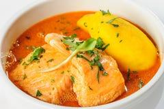Fish soup with salmon, shrimps and potato Stock Photo