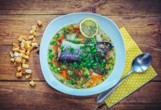 Fish soup with salmon tail, lemon slice and cut green onion Stock Photography