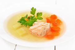 Fish soup with salmon Stock Images