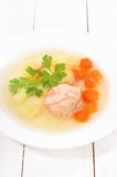 Fish soup with salmon Royalty Free Stock Images