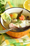 Fish soup from sea perch. Royalty Free Stock Photo
