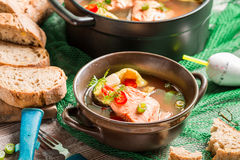 Fish soup spiced with dill and chilli pepper Royalty Free Stock Images