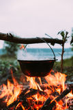 Fish soup to cook on fire in nature. Royalty Free Stock Photos