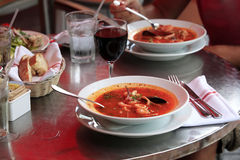 Fish soup with tomatoes and mussels Royalty Free Stock Images