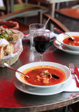 Fish soup with tomatoes and mussels Stock Image