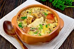 Soup fish with vegetables and cream on board Stock Photo