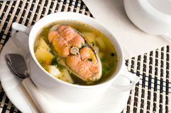Fish soup with  trout Stock Photography