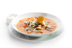 Fish Soup. With Vegetables and Greens Stock Photo