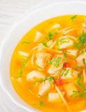 Fish soup with vegetables and pasta Stock Photos