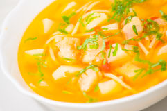 Fish soup with vegetables and pasta Royalty Free Stock Photography