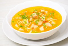 Fish soup with vegetables and pasta Stock Images