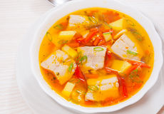 Fish soup with vegetables Stock Photo
