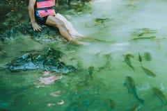 Fish spa, clean foot, healthcare concept with child at Arawan wa. Terfall Kanchanaburi, Thailand Royalty Free Stock Photography