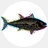 Fish species, vector marine fauna symbol. Hand drawn silhouette Royalty Free Stock Image