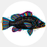 Fish species, vector marine fauna symbol. Hand drawn silhouette Stock Images