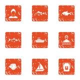 Fish spectacle icons set, grunge style. Fish spectacle icons set. Grunge set of 9 fish spectacle vector icons for web isolated on white background Royalty Free Stock Image