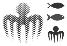 Fish Halftone Spectre Octopus Composition. Fish spectre octopus halftone collage. Vector fish items are arranged into spectre octopus collage. Nautical design Stock Images