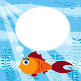 Fish and speech bubble. Underwater cartoon background with fish and speech bubble Royalty Free Stock Photography