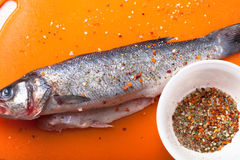 Fish and spices on a plastic cutting board. Fish in the process Royalty Free Stock Images