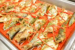 Fish in spicy red curry. Thai food is name chu chi pla. Fish in spicy red curry, Thai food call chu chi pla Stock Photos