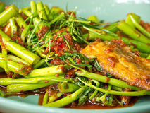Fish spicy stir-fried. With swamp morning glory, Thai food stock photography