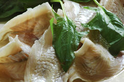 Fish and spinach Royalty Free Stock Images