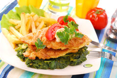 Fish on spinach with fries stock photos