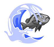 Fish And Splash Water. Vector illustration of fish jumping out of water Royalty Free Stock Photography