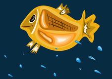 Fish splashing in the sea. Funny fish splashing in the sea vector illustration