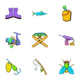 Fish sport icons set, cartoon style Royalty Free Stock Images