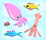 Fish and Squid with Flower Royalty Free Stock Photos