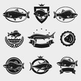 Fish stamps and labels set. Vector Stock Photo