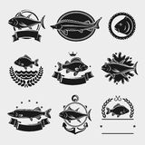 Fish stamps and labels set. Vector Stock Image