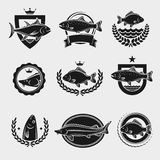 Fish stamps and labels set. Vector Stock Images