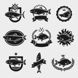 Fish stamps and labels set. Vector Stock Photography