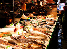 Fish stand inside the Boqueria market in Barcelona Royalty Free Stock Photography