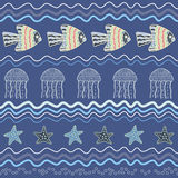 Fish star jellyfish. Seamless sea pattern with horizontal waves, fish, jellyfish and starfish Royalty Free Stock Image