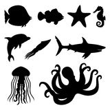 Fish, starfish, seahorse, squid, dolphin, shark, jellyfish and octopus. Stock Image