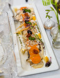 Fish starter fine dining Royalty Free Stock Images