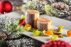 Fish starter food on white plate with christmas decoration. product photography and modern gastronomy Stock Images