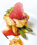 Fish steak. With asparagus and beet mousse Stock Photo