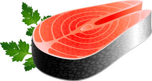 Fish steak. Over white. EPS 10 Stock Photo