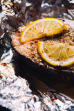 Fish steak baked with lemon and herbs in foil Royalty Free Stock Photo