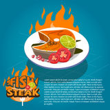 Fish Steak on dish with vegetables. typographic design -. Illustration Royalty Free Stock Photos