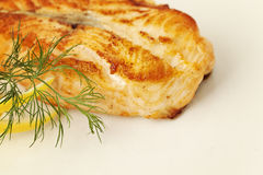 Fish Steak. Grill Salmon Fish. Gourmet Food Stock Photography