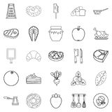 Fish steak icons set, outline style Stock Photos