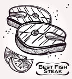 Fish Steak meat and lemon illustration. Royalty Free Stock Image