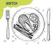 Fish steak a plate sketch vector. fork and knife cutlery. hand drawing isolated on white background Royalty Free Stock Photos