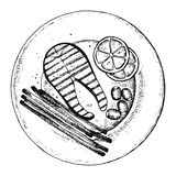 Fish steak on a plate vector. hand drawing isolated.  Stock Photo